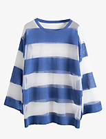 Women's Casual/Daily Sexy Blouse,Striped Round Neck Long Sleeve Polyester