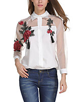 Women's Casual/Daily Street Street chic Summer Blouse,Flower/Floral Shirt Collar Long Sleeve Polyester Translucent