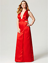 Sheath / Column Scalloped Floor Length Satin Formal Evening Dress with Pockets Split Front by TS Couture®