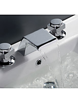 Widespread Waterfall with  Ceramic Valve Two Handles One Hole for  Chrome , Bathtub Faucet