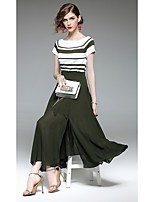 QIN QIN Women's Holiday Going out Work Simple Summer T-shirt Skirt SuitsStriped Round Neck Short Sleeve Patchwork Micro-elastic