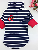 Hund T-shirt Hundekleidung Lässig/Alltäglich Streifen Weiß Blau
