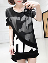 Women's Going out Casual/Daily Sexy Street chic Spring Summer T-shirt,Print Round Neck Short Sleeve Polyester Medium