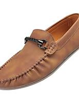 Для мужчин Туфли на шнуровке Мокасины Резина Весна Осень Мокасины На плоской подошве Серый Коричневый Хаки Менее 2,5 см