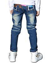 Boys' Stylish And Cool And Comfortable Pants-Cotton Embroidered Leather Washing Leisure Denim Trousers