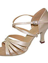 Women's Latin Silk Sandals Performance Criss-Cross Stiletto Heel Beige 3