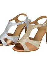 Women's Latin Glitter Sandals Performance Paillettes Stiletto Heel Silver Gold 3