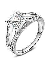 Damen Ring Kubikzirkonia Modisch Elegant Kubikzirkonia Quadatische Form Schmuck Für Hochzeit Party Verlobung Alltag Zeremonie
