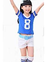 Fantasias para Cheerleader Roupa Crianças Apresentação Poliéster 2 Peças Manga Curta Alto Blusas Calções