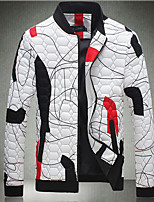 Men's Regular Padded Coat,Simple Casual/Daily Print-Cotton Others Cotton Long Sleeve