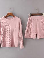 Chemise Pantalon Costumes Femme,Couleur Pleine Décontracté / Quotidien Sortie Actif Automne Printemps Manches longues Col Arrondi