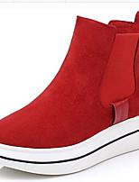 Для женщин Ботинки Удобная обувь Осень Зима Полиуретан Повседневные Черный Красный На плоской подошве