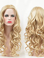 Fashion Blonde Body Wave Long Length Beauty Middle Parting Synthetic Wig for American and European Women Wearing Heat Resistant