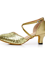 Women's Latin Glitter Sandals Performance Paillettes Cuban Heel Ruby Silver Black Gold 1