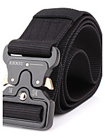 Men's Alloy Military Waist Belt Casual/Business Solid Pure Color Quick-drying Nylon Canvas Belt Black/Brown/Army Green