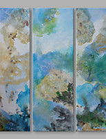 IARTS® Hand Painted Oil Painting Modern Blue Abstrct Triptych Art Acrylic Canvas Wall Art For Home Decoration