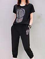 Для женщин Повседневные Лето Как у футболки Брюки Костюмы Круглый вырез,На каждый день Однотонный С принтом С короткими рукавами