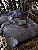 Solid Color 4 Piece Bed Sets 100% Cotton Simple Machine Made 1pc Duvet Cover(230*250cm) 2pcs Shams(48*74cm) 1pc Flat Sheet(200*230cm)