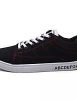 Men's Sneakers Comfort Spring Fall Fabric Casual Lace-up Flat Heel Gold Black/White Black/Red Flat