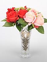 5 Филиал Пластик Полиуретан Недвижимость сенсорный Розы Букеты на стол Искусственные Цветы