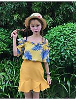 Для женщин Повседневные Лето Как у футболки Юбки Костюмы Вырез лодочкой,На каждый день Однотонный Деревья / Листья 1/2 Length Sleeve