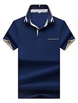 Для мужчин Большие размеры На каждый день Офис Лето Polo Рубашечный воротник,Простое Однотонный С короткими рукавами,Хлопок Спандекс,