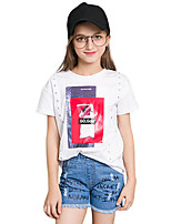 Girls' Solid Print Tee,Cotton Summer Short Sleeve Regular