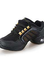 Women's Dance Sneakers Tulle Sneakers Outdoor Splicing Flat Heel Black/Red Black/Gold Fuchsia White 1