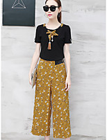 Women's Daily Casual Contemporary Summer T-shirt Pant Suits,Striped Floral Round Neck Short Sleeve