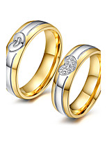 Для пары Кольца для пар Цирконий Мода обожаемый Elegant Цирконий Титановая сталь 18K золото Круглой формы Бижутерия НазначениеСвадьба