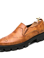 Men's Oxfords Formal Shoes Comfort Real Leather PU Leather Spring Fall Casual Office & Career Party & Evening Flat Heel Dark Brown Black