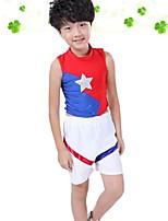Fantasias para Cheerleader Roupa Para Meninos Apresentação Poliéster Recortes Bloco de Cor 2 Peças Sem Mangas Natural Blusas Calças