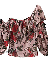 Women's Going out Casual/Daily Street chic Summer Blouse,Floral One Shoulder Short Sleeve Rayon Thin