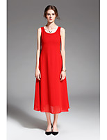 ZIYI Women's Holiday Going out Casual/Daily Simple Swing DressSolid Round Neck Midi Sleeveless Polyester Summer Mid Rise Inelastic Medium