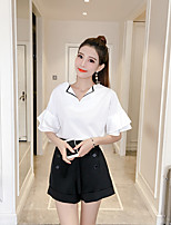 Women's Daily Casual Casual Summer T-shirt Pant Suits,Solid V Neck Short Sleeve Bow Inelastic
