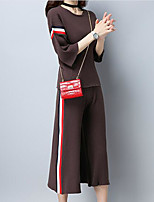 Women's Casual/Daily Simple Fall T-shirt Pant Suits,Solid Round Neck ¾ Sleeve