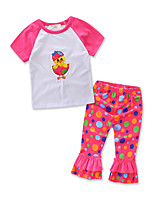 Girls' Fashion Clothes Animal Embroidered Sets Cotton Summer Long Pant Clothing Baby Set