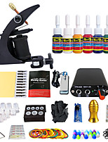 Solong Tattoo New Beginner 1 Pro Machine Tattoo Kit Power Supply Needle Grips tip 7 color ink set TK105-1
