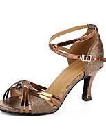 Women's Latin Synthetic Heels Professional Color Block Cuban Heel Brown 2