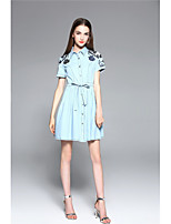 TYZEE Women's Going out Casual/Daily Simple Cute Denim DressSolid Embroidered Shirt Collar Above Knee Short Sleeve Cotton Spring SummerHigh