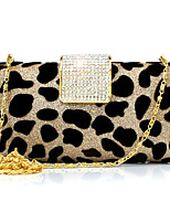 Women Evening Bag Suede Spring/Fall All Seasons Wedding Event/Party Casual Sports Formal Outdoor Office & Career SquareLeopard Rhinestone