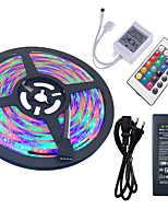Hkv® 5m imperméable à l'eau 3528 300led rgb strip flexible light 24key ir télécommande 5a alimentation 100-240v