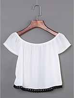 Women's Daily Casual/Daily Simple Summer Blouse,Print Round Neck Short Sleeve Cotton Thin