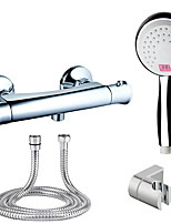Color Changing Modern/Contemporary Shower Only Handshower Included LED indicator Thermostatic with  Brass Valve Two Holes for Chrome Shower Faucet