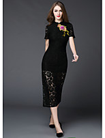 MMLJ Women's Going out Casual/Daily Vintage Sheath DressSolid Embroidered Stand Midi Short Sleeve Polyester Summer Mid Rise Micro-elastic