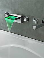 Contemporary Modern Style LED Waterfall Wall Mount with  Three Handles Five Holes for  Chrome Finish Bathroom Bathtub Faucet