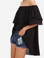 Для женщин Повседневные Свидание На выход На каждый день Весна Лето Блуза Вырез лодочкой,Простое Уличный стиль ОднотонныйС короткими