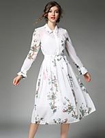 Linea A Vestito Da donna-Feste Per uscire Casual Vintage Moda città Sofisticato Collage Rotonda Al ginocchio Manica lunga PoliesterePer