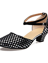 Women's Latin Flocking Sandals Beginner Paillettes Cuban Heel Black/Silver Black/Gold 1