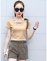 Women's Other Casual Simple Summer Shirt Pant Suits,Solid Striped V Neck Short Sleeve